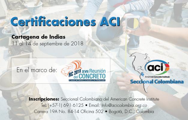 Certificaciones ACI en el marco de la RC 2018